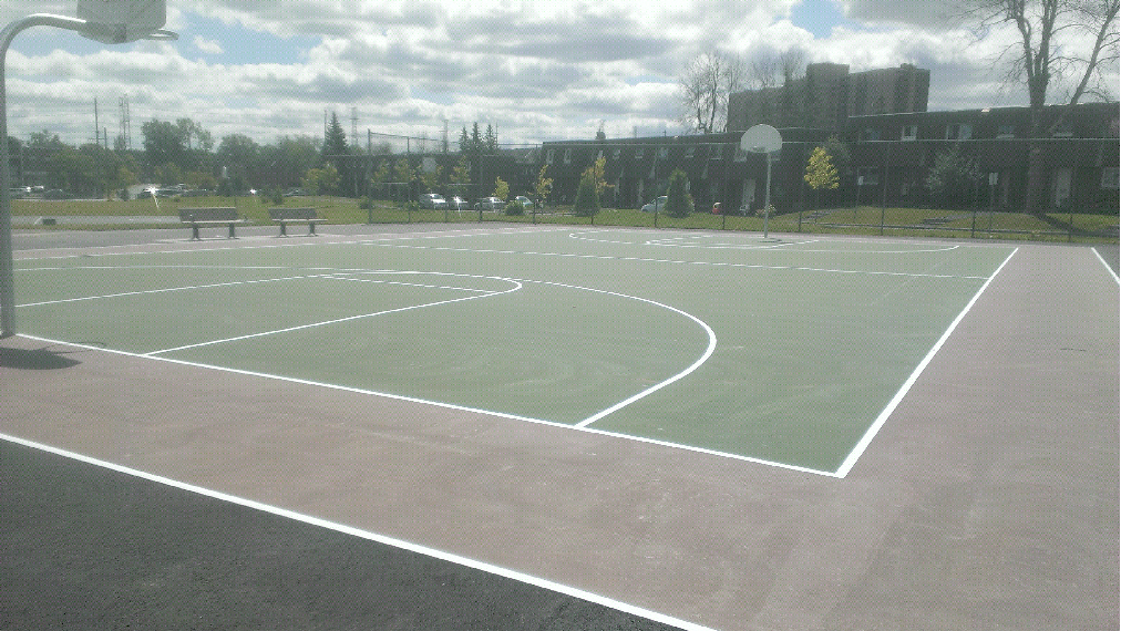 Basketball court green and Sand